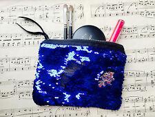 Flip Sequin Make Up Bag. Reversible Mermaid Sequin Clutch BLUE & SILVER Sequins