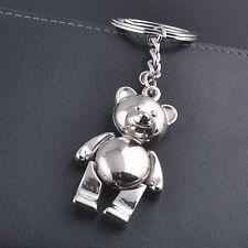 Cute Movable Metal Teddy Bear Keychain Keyring Keyfob Ring Trinket 3D Pendant