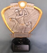 female golf trophy award resin shield mounted on a weighted base