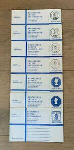 Isle of Man mint 1973-78 Registered Letter Envelopes, 7 different size G,  F-VF