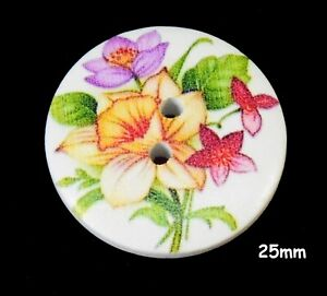 10 White Wood Red Purple Yellow Daffodil Flower 25MM Buttons Sewing 1415