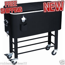 Rolling Party Cooler Entertaining Patio Portable Beer Storage Drink Cool Outdoor
