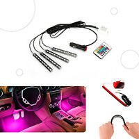 4 TIRAS LUZ LED MULTICOLOR PARA COCHE INTERIOR MECHERO MANDO A DISTANCIA