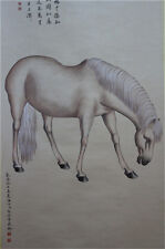 "Rare Chinese 100% Hand Painting & Scroll ""Horse"" By Lang Shining 郎世宁  WED126"