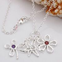 ASAMO Damen Halskette mit Blumen Anhänger 925 Sterling Silber plattiert H1040