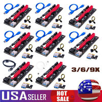 3X PCI-E Express USB 3.0 Pcie 1x To 16x Extender Riser Card Adapter Mining Cable