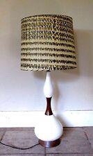 Vintage Mid-Century Atomic Era Danish Modern Ceramic & Teak Lamp Original Shade
