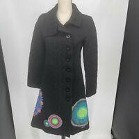 Desigual Long Trench Coat Designer Black Geometric Button Up WOMENS SIZE 38