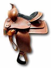 """D.A. Brand 10"""" Tan Leather Child's Western Pony Saddle Black Suede Seat Equine"""