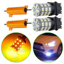 2x 3157 Dual Color Switchback White/Amber LED Turn Signal Light Bulbs +Resistors