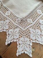 "VINTAGE ECRU LINEN WHITE COTTON LACE EDGED TABLECLOTH  42"" SQUARE"