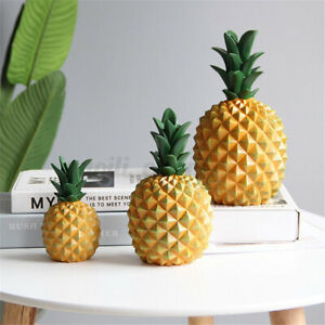 Pineapple Figurine Resin Coin Piggy Bank Money Box Ornament Home Room Decor