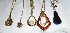Mixed Lot 5 Pendant Necklaces AVON & Unbranded Art Deco Floral Dainty Mirror