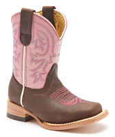 Redhawk Boot Co. Young Girls Leather Cowboy Western Boots Chocolate Pink US 2.5