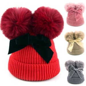 Childrens Boys Girls Ribbed Winter Knitted Beanie Bobble Hat With Double Fur Pom