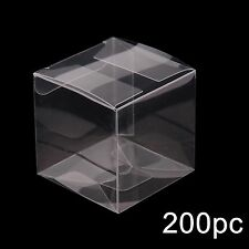 200 Wedding Favor Box Plastic Sweet Transparent PVC Cube Cake Gift Candy Bags