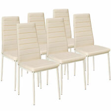 6x Sillas de comedor Juego elegantes sillas de diseño modernas cocina beige NUEV