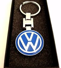 VOLKSWAGEN VW SILVER and BLUE Key chain key ring stainless comes with Black Box