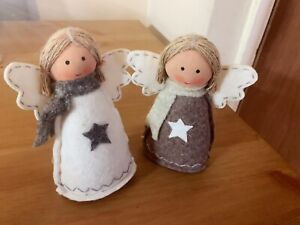 A Pair Of Free Standing Christmas Angel Decorations