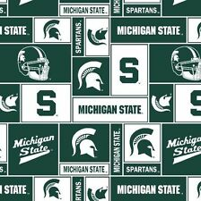 Package of Short Pieces Michigan State MSU Sq 012 Fleece Fabric Print D005.62