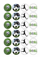 24 Soccer Wafer Rice Paper Cupcake Toppers Edible Cake Decoration Boys Sports