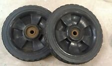 """5BB88 PAIR OF WHEELS (FROM BBQ??) 1#1 EACH, 7-7/8"""" X 1-5/8"""" X 1/2"""" +/- OVERALL"""