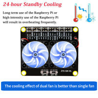For Raspberry Pi 4B/3B+/3B/3A+ LED GPIO Extension Board Module Dual Cooling Fans