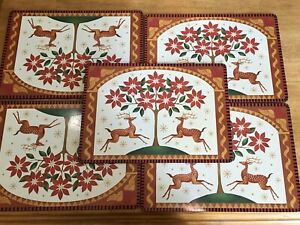 """5 Vtg Christmas Holiday Poinsettia and Reindeer Cork Backed Placemats 11.5x16 """""""