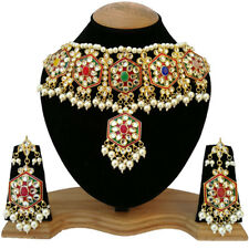 Meena Kundan Pearls Wedding Designer Gold Plated Party Wear Jewelry Necklace Set