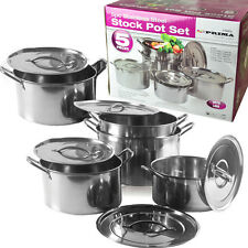 5PC SHALLOW STOCK POT SAUCE STAINLESS STEEL SOUP BOILING DEEP KITCHEN COOKING