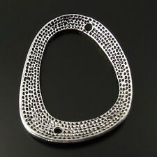 33019 Antiqued Silver Tone Retro Irregular Ring Pendant Connector Charms 16PCS