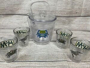 Henkels & McCoy Beach Tervis Ice Bucket and 4 Glasses- Crab Heron