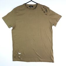 New Look Mens T Shirt Ripped Cut Out Distressed Short Sleeve Crew Neck Size S