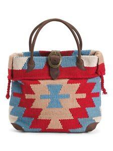 AMERI LEATHER Aztec Red Multi Wool Rug Tote Bag Leather Trim 17x14x6 RAMSES New