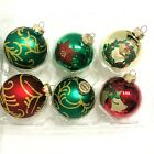 Vtg 6 Victoria Collection Rauch Glass Christmas Ornaments Glitter Gold Red Green
