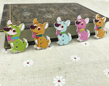 DIY 25X Dog Wooden Buttons Mix-color Sewing Scrapbooking decoration 2 holes 35mm