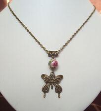 """Grano de flor de mariposa Filigrana De Bronce Colgante Collar Cadena de 18"""" - Victoriana"""