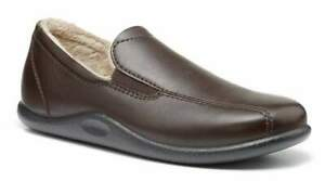 HOTTER Mens 12 UK (47) Relax Drk Brown Leather Faux Fur Lined Slippers NEW BOXED