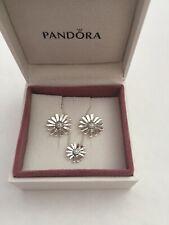 Pandora Pave Daisy Flower Necklace & Earrings Set In Pandora Box