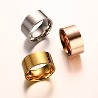 10mm Men's Silver/Gold/Rose Gold Band Stainless Steel Engagement Ring Size 6-13
