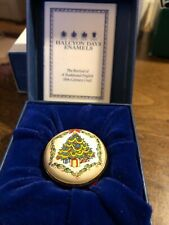 Halcyon Days Enamels Christmas Tree Pill Trinket Box Twist Top with box and Coa