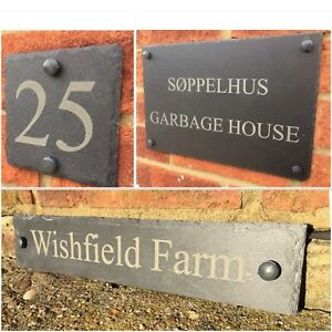 Rustic Slate House Gate Sign Plaque Door Number Personalised Name Plate engrave