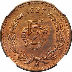 Mexico 5 Centavos Mo 1927, Bronze. NGC MS65 RB KM# 422