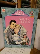 Vintage 1992 Bride and Groom Deluxe Paper Doll Golden Uncut