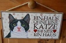 Türschild Tierschild Schild Tafel Holzschild Deko Bild ♥ Haus Katze NEU