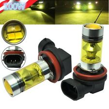2 x 4300K Yellow H11 H8 LED Fog Light 100W Samsung 2323 Projector Driving Bulb