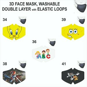 Face Mask Kids Tweety Spiderman School Sponge Bob Reusable washable Mouth Cover