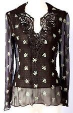 NWT CYNTHIA STEFFE $260 SILK LAYERED & EMBROIDERED BELL SLEEVE TUNIC CHOCOLATE M