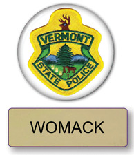 SUPER TROOPERS WOMACK POLICE NAME BADGE & BUTTON HALLOWEEN COSTUME PIN BACK