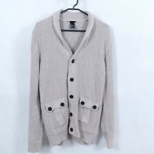 H&M Mens Winter Brown Button Front V Neck Knitted Cardigan Jumper SIZE Medium, M